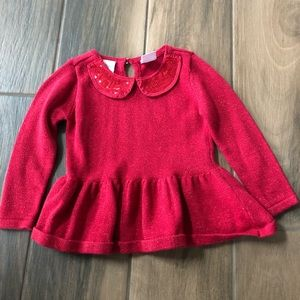 Baby girl red sparkle holiday sweater